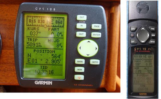 Båda navigatorernas position noterades innan nollställningen. Tiden angavs korrekt vid fotograferingen. Båda två fungerade perfekt efter nollställningen och visade samma position och rätt tid.