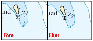 Inte så vanligt att stenar plockas bort från sjökortet, men nu har det hänt. Oftast är det ju tvärt om.