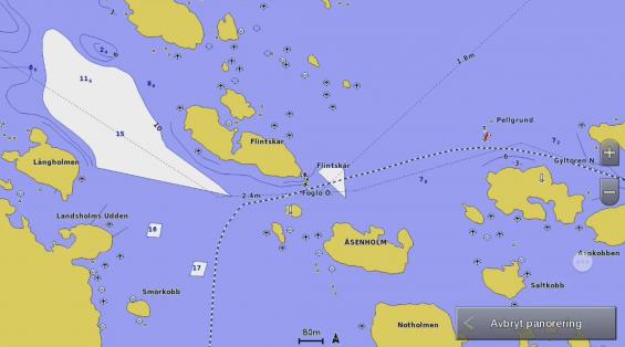 Man fortsätter norrut och följer det vita djupare stråket med Lilla och Stora Estö på styrbords sida och sedan Ramsö och Vårholmen, också det på styrbords sida. Sedan är det bara att vika styrbord och följa farleden till Kökar.