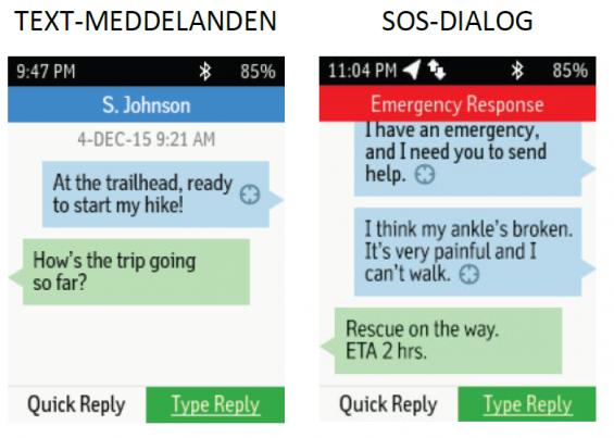 Exempel på textmeddelanden. Gissningsvis blir det möjligt med talkommunikation via Garmins navigatorer framöver.