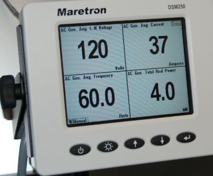 Maretrons display håller reda på båtens alla inkopplade instrument på nätverket. Här ser vi laddning från en generator till en batterigrupp.