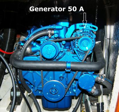 Som standard levereras Solé Mini 55 motorer med 50 amperes generator. Större generator går att köpa till, men efter sommarens mätningar visar det sig inte vara nödvändigt.