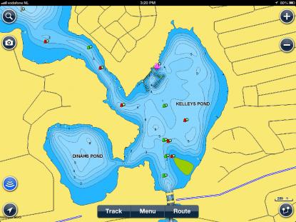 Efter djupmätning och inlagd djupinformation ritas sjökortsbilden om medgenerella djupkurvor enligt bilden.