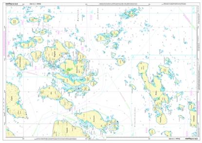 Syd ost om Runmarö finns två nya sjökort i år.Bilden visar Rågskärliggande, men är ritad stående i A2-format.