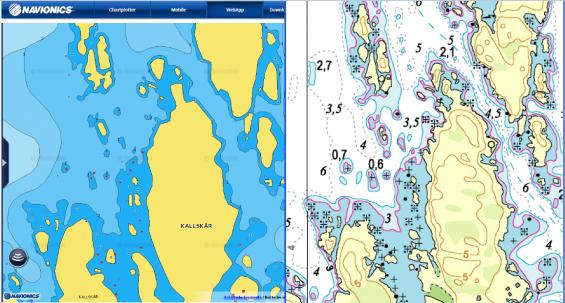 Navionics sjökort till vänster och originalet Hydrographica till höger. Jag föredrar Hydrographicas original framför Navionics sjökort här.