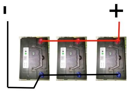 För att få ut maximal livslängd på förbrukningsbatterierna ombord är det viktigt att de kopplas ihop på rätt sätt. Strömmen ska ha lika lång väg att passera för att få en jämn belastning på batterierna.