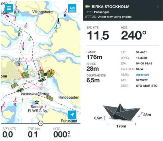 Eniro på sjön visar alla kommersiella fartygs AIS-data. Klicka på fartyget och mera information framträder såsom längd, fart, kurs med mera.
