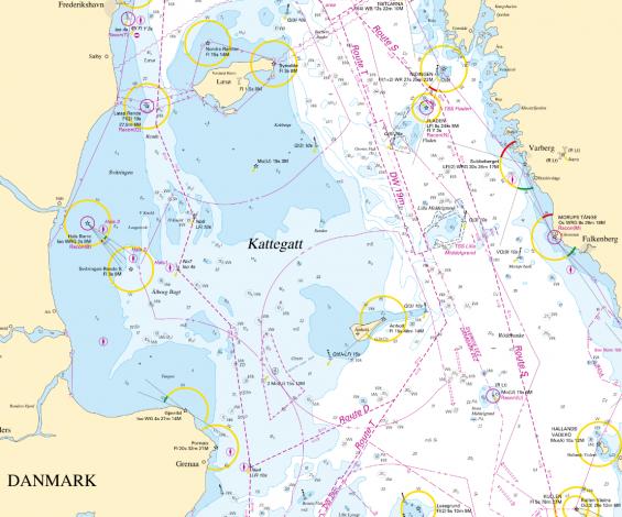 Nya rutt S går närmare svenska kusten. Rutt T ligger mera mitt i Kattegatt. Fler fartyg kommer att röra sig närmare svenska kusten från 1 juli 2020.
