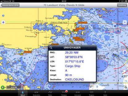 Här syns en del av all information som sänds från en AIS. Skrollar man sidan ser vi också fartygets fart, kurs, med mera.