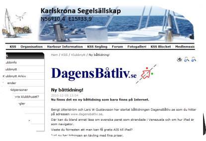 Så här ser ett utsnitt urKarlskrona Segelsällskaps fina hemsida ut.