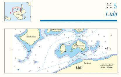 Genvägarna presenteras med sjökortsbild, flygfoto och förklarande text. Här om passagen vid norra Lidö. Flygfotot är översta bilden i artikeln.