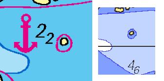 Till vänster ser vi en djupangivelse på 2,2 meter i NV-Verlags sjökort. Röd linje är tvåmeterskurvan.I Sjöfartsverkets kort till höger är samma område angivet till 3 till 6 meters djupt.