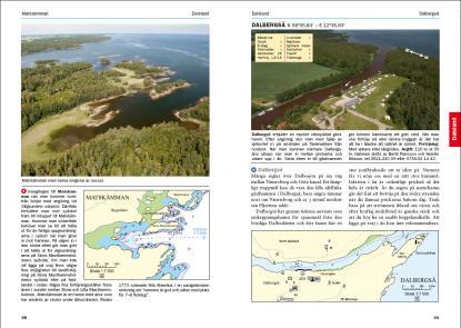 Exempel på hur hamnar och platser presenteras i nya hamnguiden över bland annat Vänern och Vättern.