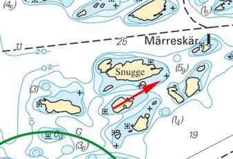 Inom det mörkblå området låg det en sten. Numera finns den i sjökortet. Insänd av Gustav von Sydow och Thomas Lydhig.