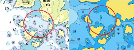 Sjökortsbilden till vänster är originalet från Hydrographica. Det till höger är Navionics senaste utgåva. Det är lått att tro att stenen ligger på 2 meters djup. Det visar sig vara en felaktigt placerad djupkurssiffra. Hydrographica har angivet det till mindre än två meter.Ett exempel på ett farligt fel eller förvirring. Notera även avsaknaden om 2 meters djup vid sundet vid \