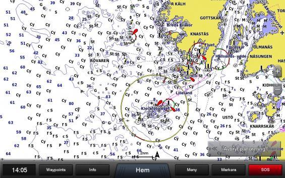 Garmins sjökort Bluechart visar här Klockfotsrevet. Det är en liten kobbe bredvid kända fyren Nidingen som inte syns med namn här. Notera också alla Cy för lera. Skalan i bilden används knappast för navigation, men väl om en rutt ska läggas utmed kusten.